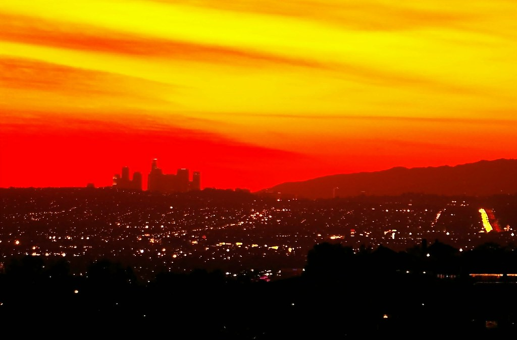 los angeles sunset looking like a giant battleship los