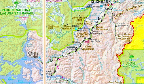 Mapa Carretera Austral Tramo Cochrane Hacia Caleta Tortel