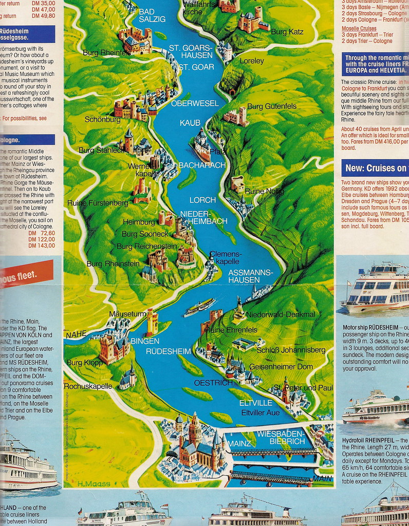 rhine river cruise map  by piedmont fossil. rhine river cruise map  the brochure included a map of the …  flickr