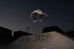 Christ Ault - ollie into bank at Stockwell skatepark