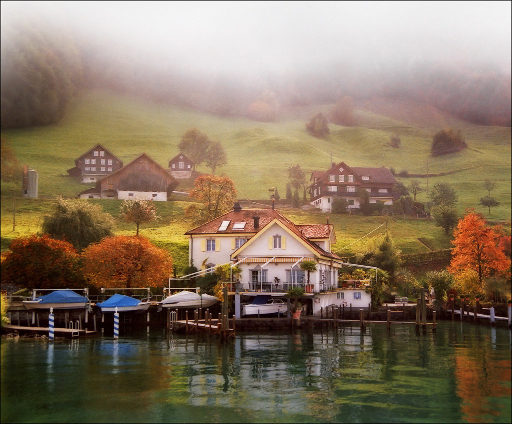 Pastoral Switzerland Autumn Landscape Here You Can See