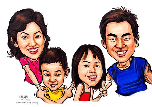 Family Caricatures In Colour 090108 Www Portraitworkshop