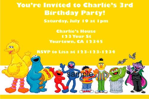 Personalized Elmo Sesame Street Invitations Custom Print