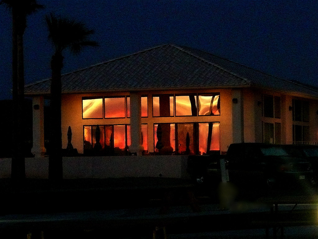 Second Hand Sunset Sunset Reflected In Clubhouse Windows