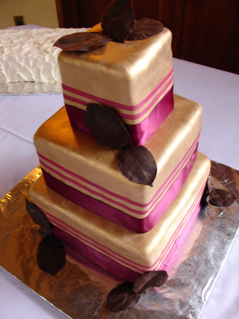 Gold Wedding Cake With Chocolate Leaves Custom Cake For