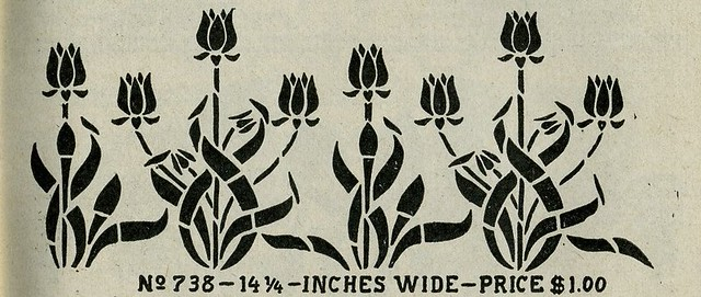 Arts crafts stencil tulip 3 mission style arts for Arts and crafts stencils craftsman