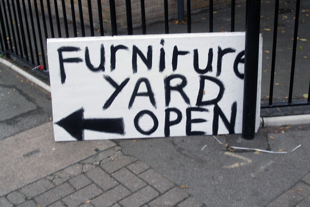 Furniture yard sale furniture yard open sale sign on for Furniture yard sale