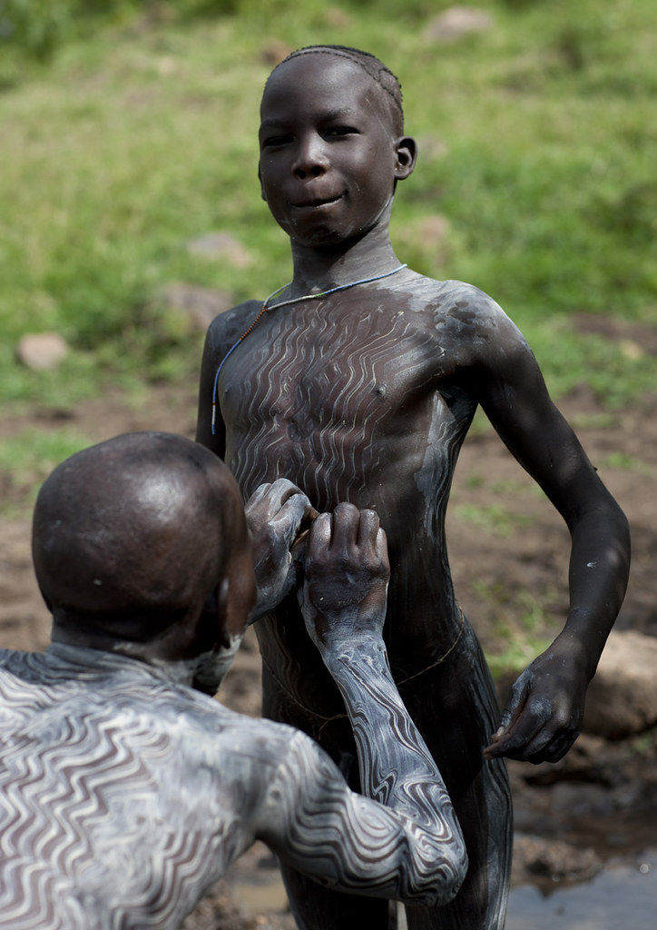 Surma Body Decoration Before Donga Fight - Ethiopia  Flickr-4138