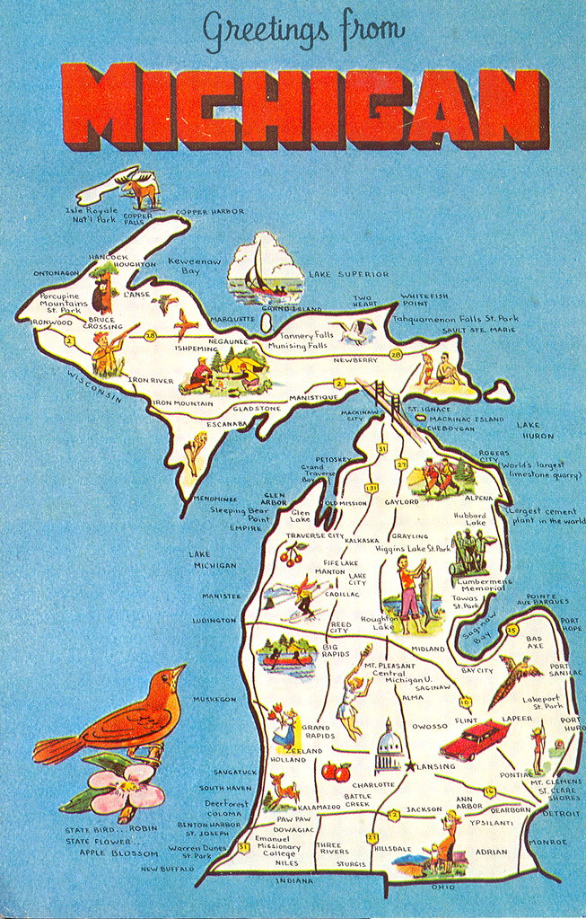 Michigan Tourism Map Card 3 Don The Upnorth Memories Guy Harrison Flickr
