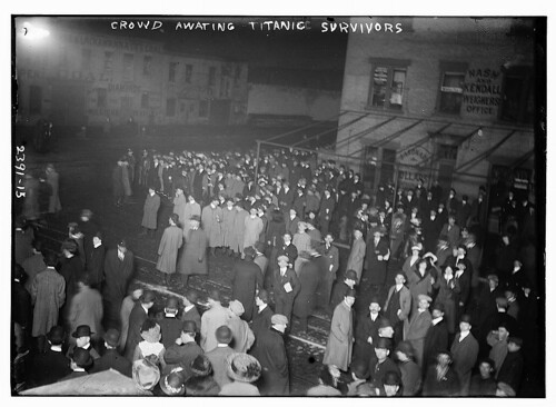 Crowd awaiting TITANIC survivors  (LOC) | by The Library of Congress