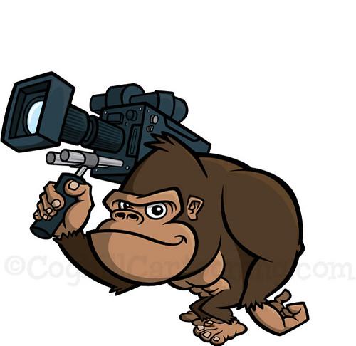 Cartoon Gorilla With Video Camera  Working Final Vector -2471