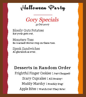 halloween party menu paw paw flickr