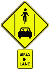 "Santa Cruz council approves ""Bikes In Lane"" sign for Mission Street 