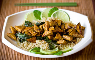 Sweet Chili Lime Tofu with Wok Steamed Collards and Quinoa | by teenytinyturkey