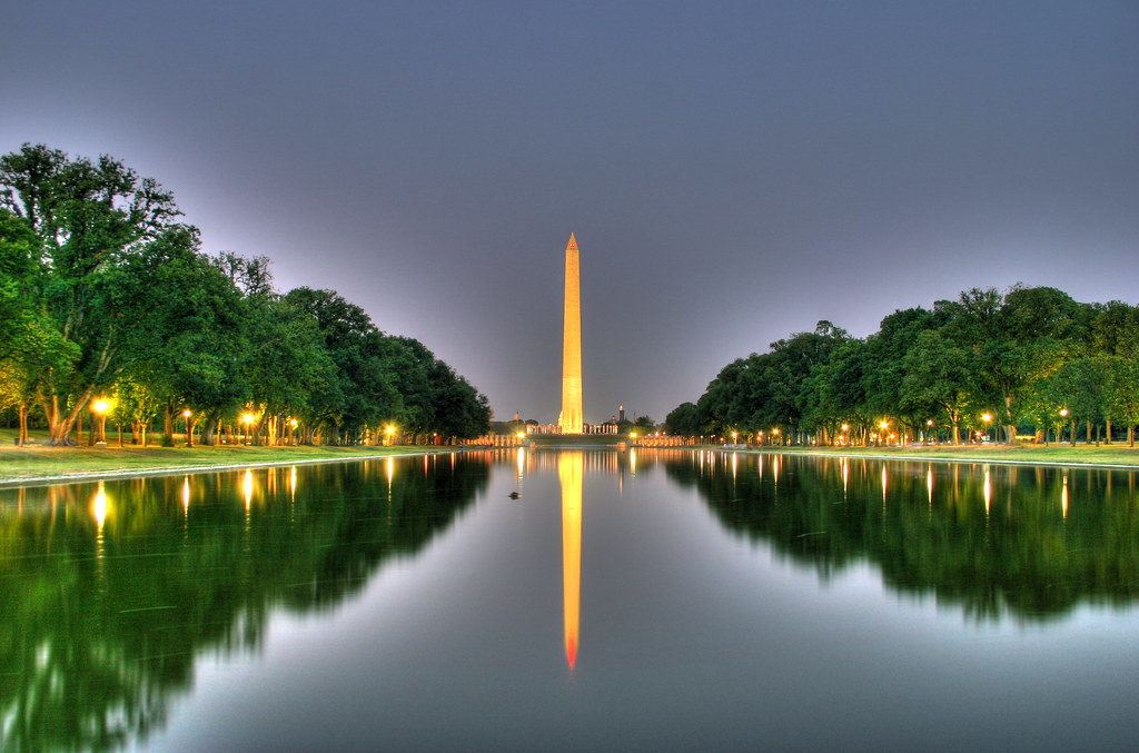 reflecting pool and washington monument at night an. Black Bedroom Furniture Sets. Home Design Ideas
