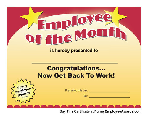 Employee of Month Certificate | Download this funny employee ...