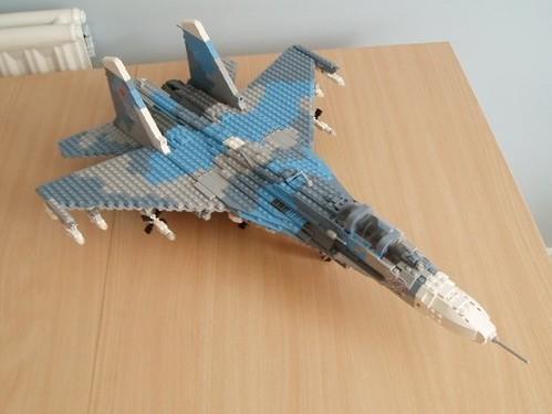 Su 27 Flanker 10 Lego Blueish Grey Sand Blue And Mid