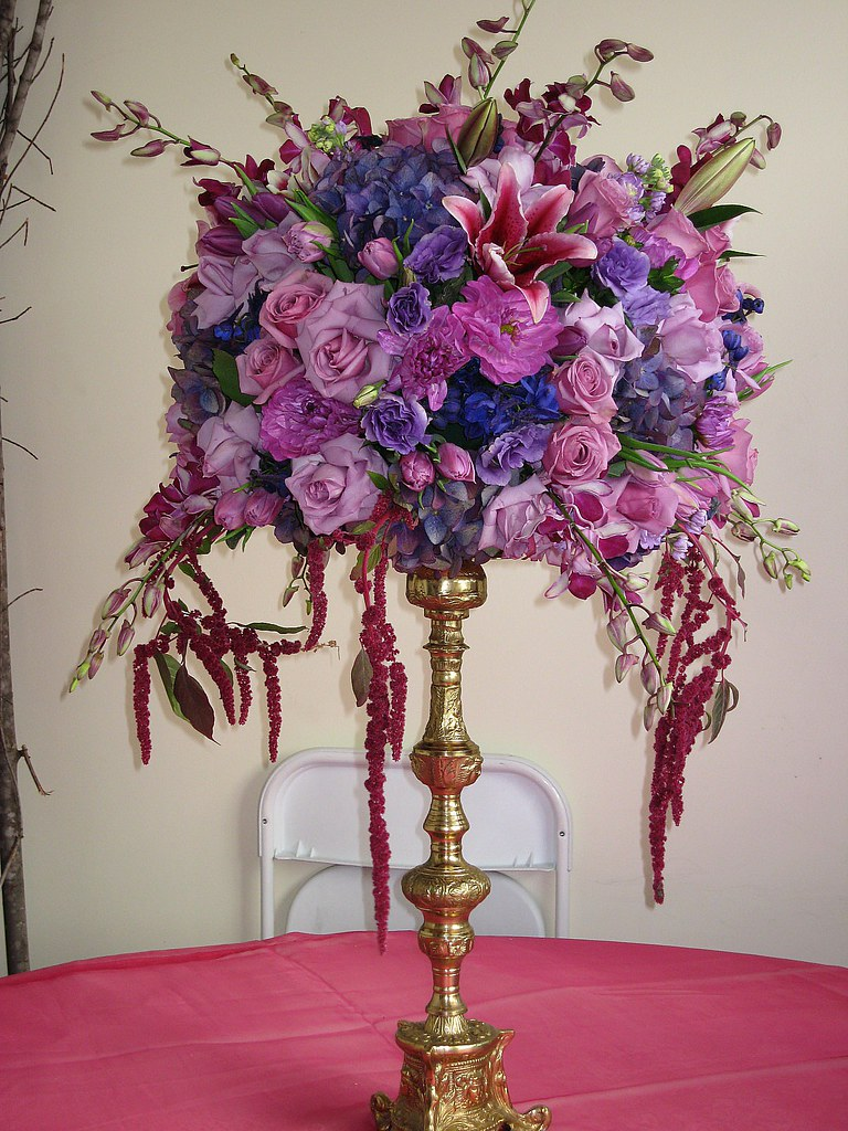 Wedding centerpiece lavender blues pinks pure