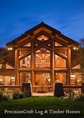 Precisioncraft Log Homes Handcrafted Log Home Back Ele