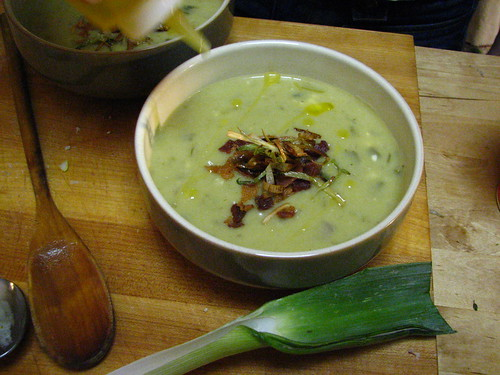 Potato Leek Soup (topped with fried leeks) | by SeppySills