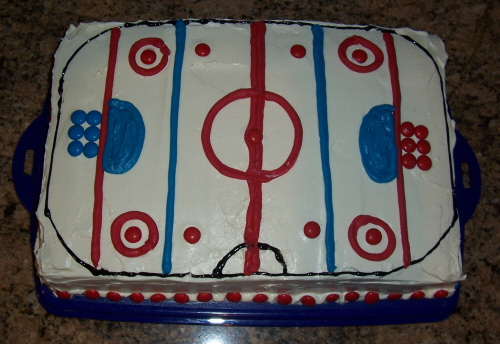 Ice Hockey Rink Birthday Cake