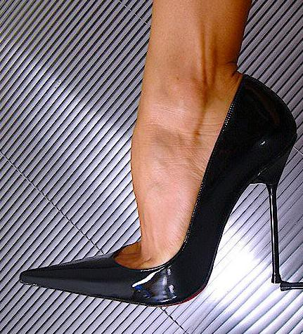 Black patent heels and stockings - 5 3