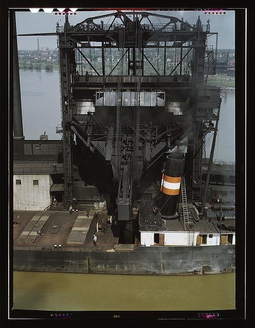 Loading Coal Into A Lake Freighter At The Pennsylvania Rai