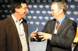 Eric Schmidt, CEO of Google and John Markoff of NYTimes | by Robert Scoble