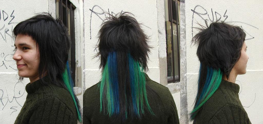 Hair Dye Hair Color Blue Green Haircut By Almut Haircolo Flickr
