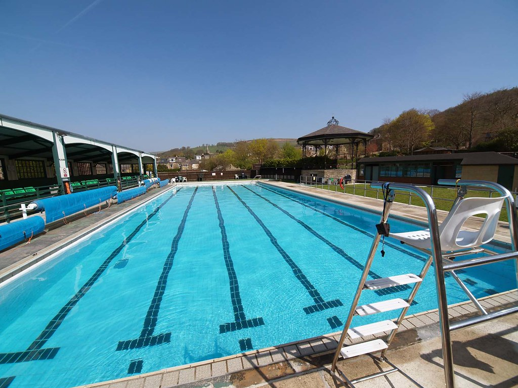 Hathersage Open Air Heated Swimming Pool Wide Angle View