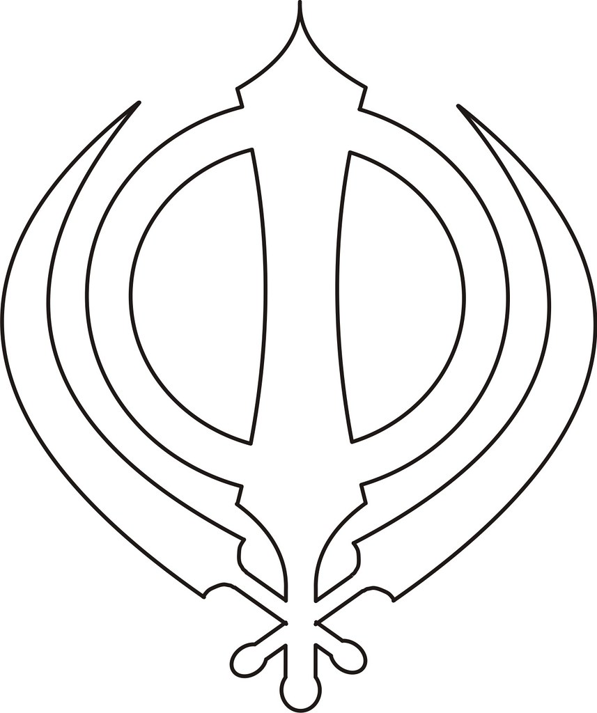 sikh symbol   khanda black outline the insignia of the