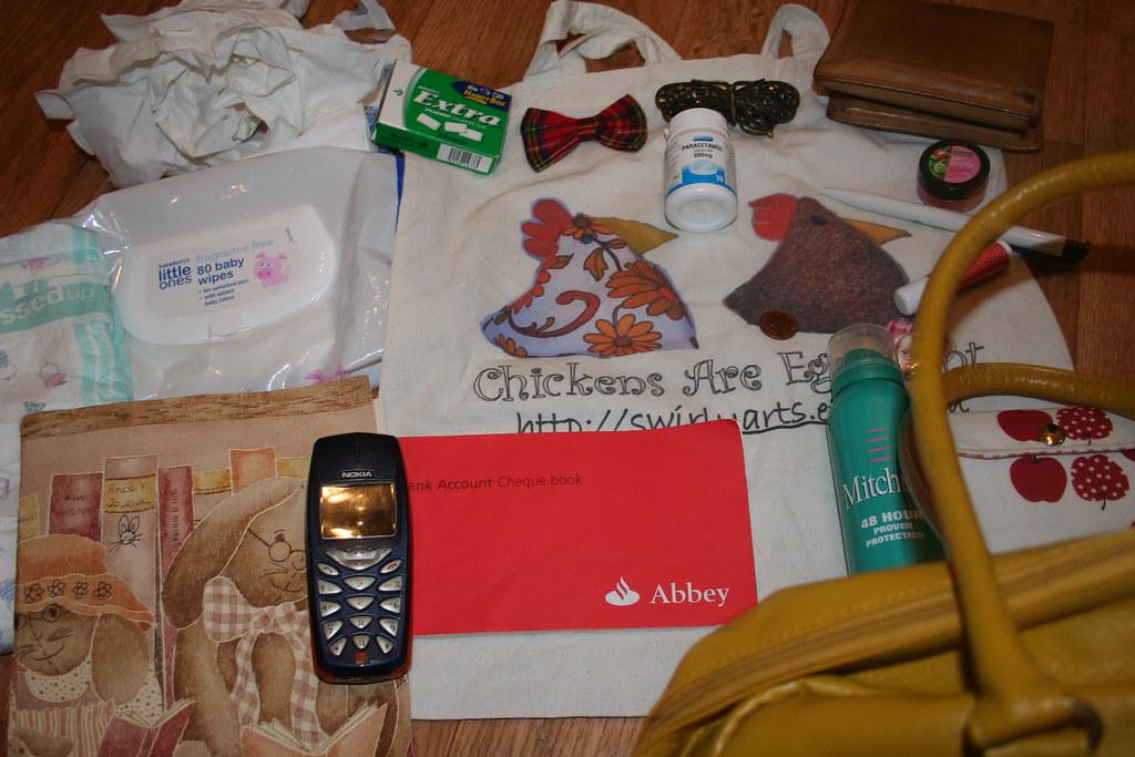 contents of my handbag wad of tissues chewing gum tartan b flickr. Black Bedroom Furniture Sets. Home Design Ideas