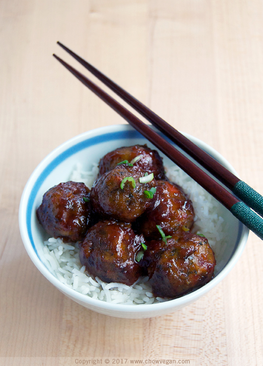 Vegan Cocktail Meatballs with Rice | Chow Vegan