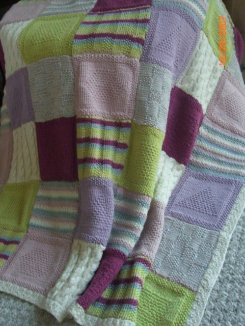 Afghan Square Knit Blanket | My first knitting project for ...