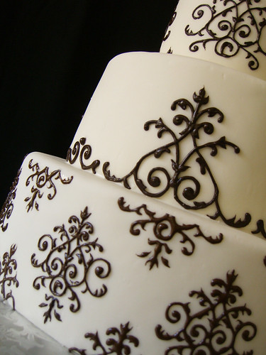 Cake Piping Design Patterns : Damask piping close-up Coloring is very close to black ...