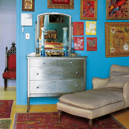 silver painted and turquoise wall from french flickr. Black Bedroom Furniture Sets. Home Design Ideas