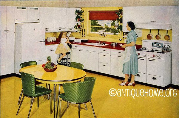 1950 kitchen design yellow and red 1950s retro kitchen for Home decor 50s
