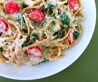 Pasta w/ Artichoke Sauce, Spinach and Tomatoes | by CinnamonKitchn