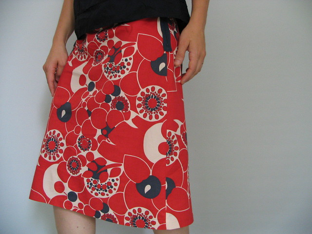 a-line summer skirt | cotton fabric with expressed navy zip ...
