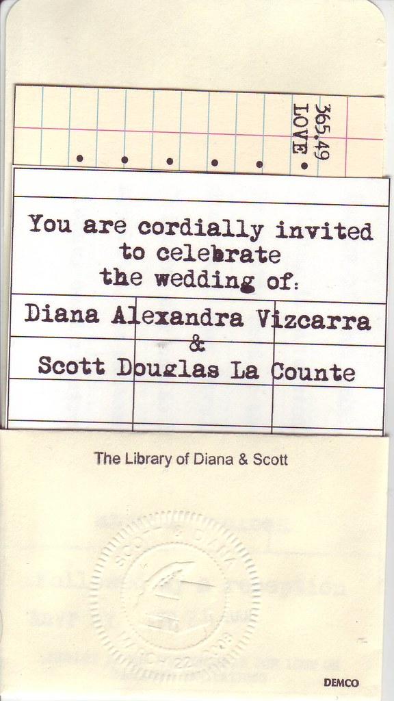 Library Themed Wedding Invitation Library Themed Wedding I Flickr