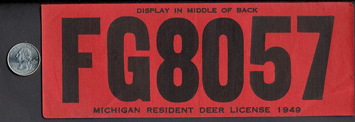 1949 michigan resident deer hunting license backtag large for Michigan non resident fishing license