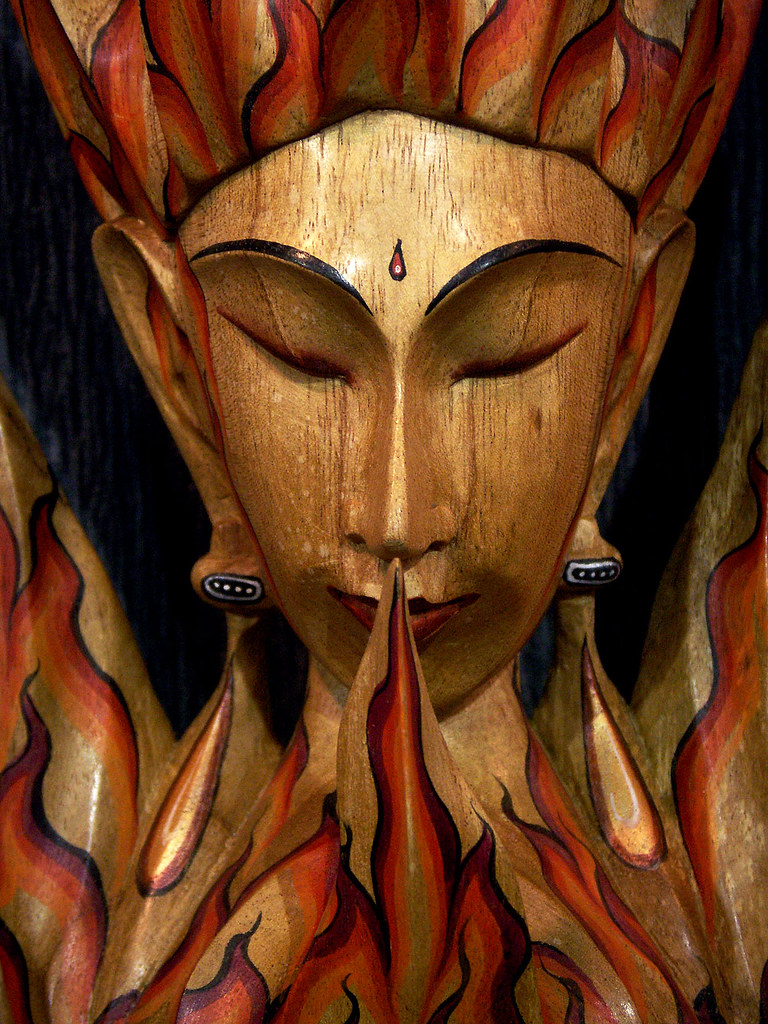 Flame God Portrait In Wood One Of The Many Striking And