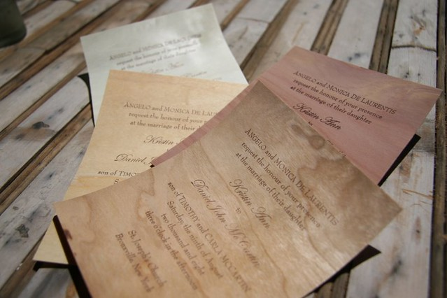 Papyrus Wedding Invitations: Letterpress Wood Wedding Invitations