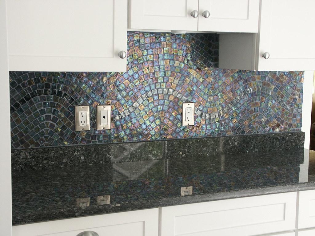 Iridescent Backsplash Blue Iridescent Glass Tiles With