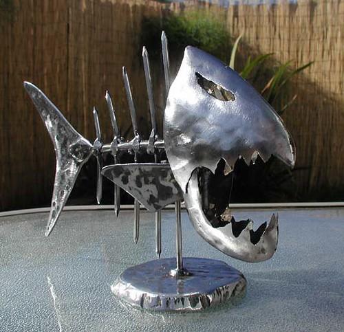 Metal fish art tabletop skeletal fish sculpture for Metal fish art