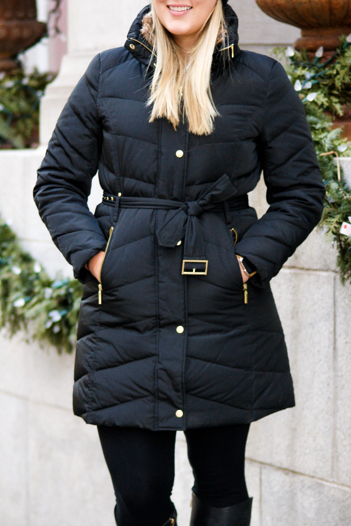 Cole Haan Faux-Fur-Collar Belted Down Puffer Coat