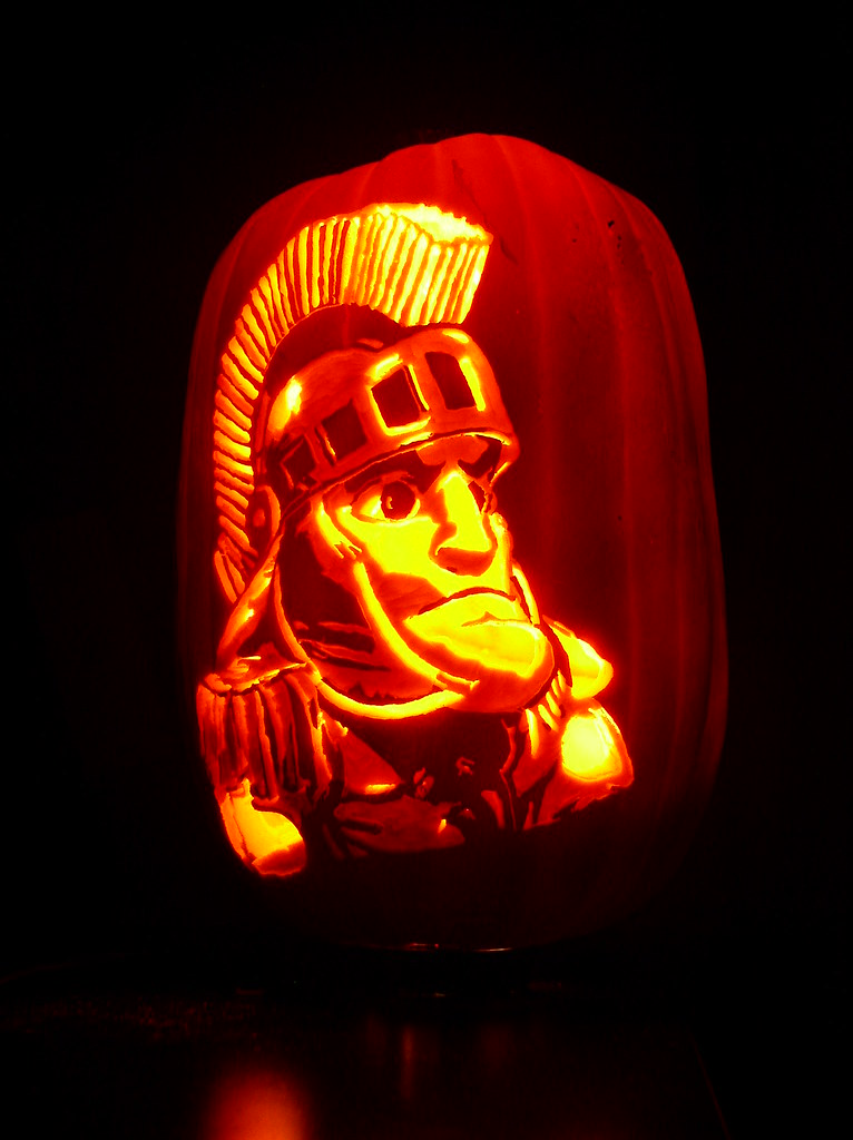 Sparty pumpkin carved for halloween this year