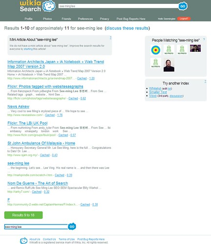 Search Wikia - Web Search Results: See-ming Lee / 2008-01-07 / SML Screenshots | by See-ming Lee (SML)