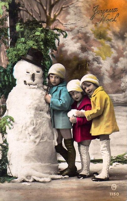 Vintage Postcard Kids W Snowman Postcards From My