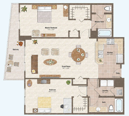 Two bed room condo floor plan 5 one las vegas condo for Cosmopolitan home designs